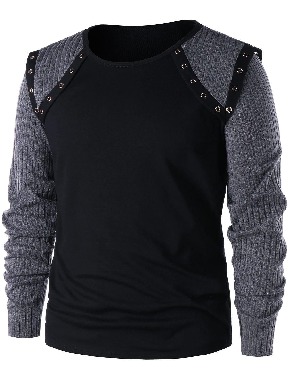 Ribbed Knit Panel T shirt 244618301