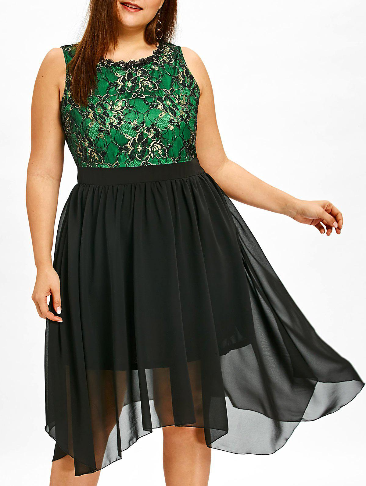 Chic Lace Panel Plus Size Sleeveless Asymmetrical Dress