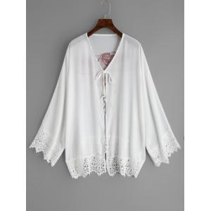 Chiffon See Through Lace Hem Cover Up -