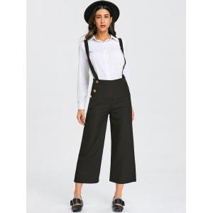 Criss Cross Ninth Wide Leg Suspender Pants -