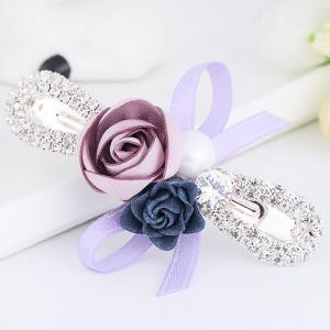 Romantic Rose Bowknot Embellished Hairclip -