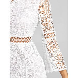 One Shoulder Flare Sleeve Lace Dress -