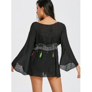 Feather Fringed Bell Sleeve Cover Up -