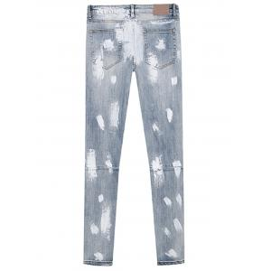 Splatter Paint Bleached Zipper Design Distressed Jeans -