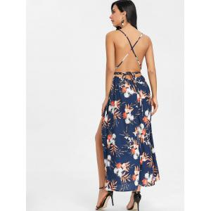 Flower Print Backless Cami Dress -