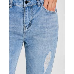 Raw Hem Distressed Denim Jeans -