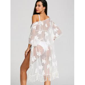 Beach Mesh Sheer Fringed Cover Up -