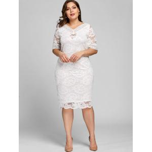 Plus Size V Neck Midi Lace Dress -
