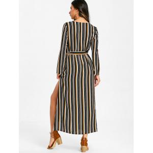 Button Up Striped Casual Maxi Dress -