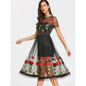 Voir Thru broderie Floral Tulle Dress -
