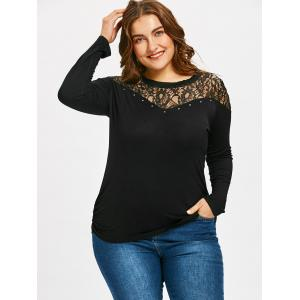 Lace Panel Plus Size Long Sleeve T-shirt -