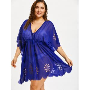 Flower Cutting Plus Size Tunic Scalloped Cover Up -