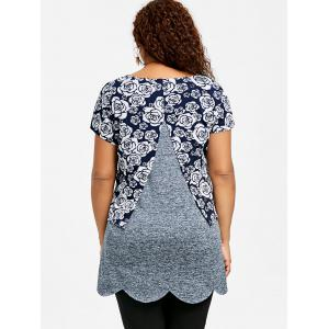 Plus Size Overlay Floral Scalloped Edge T-shirt -