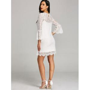 Bell Sleeve Fitted Lace Dress with Slip Dress -