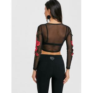 Embroidery See Thru Crop Top -
