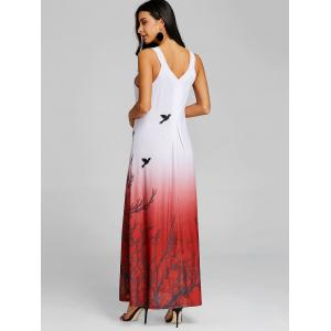 Printed Ombre Color Maxi Swing Dress -