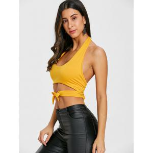 Tie Up Open Back Halter Crop Top -