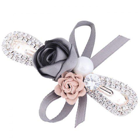 Affordable Romantic Rose Bowknot Embellished Hairclip