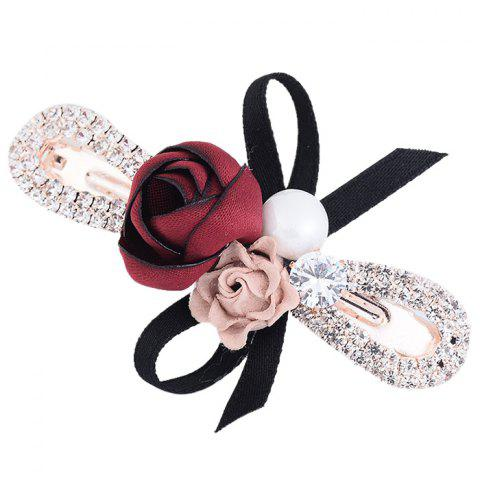 Buy Romantic Rose Bowknot Embellished Hairclip