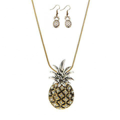 Chic Metallic Ananas Embellished Pendant Necklace and Earrings