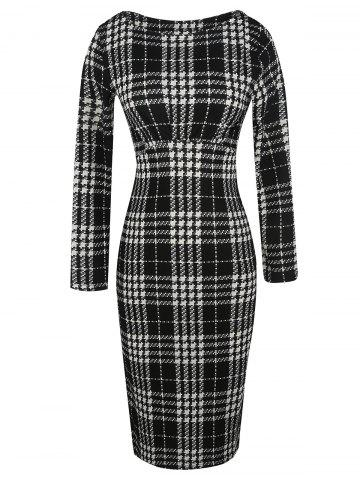 Buy Check Fitted Bodycon Dress