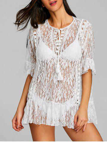 Cheap Lace Flounce See Thru Cover Up
