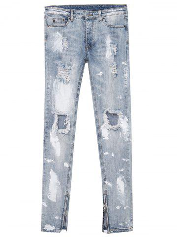 Splatter Paint Bleached Zipper Design Distressed Jeans