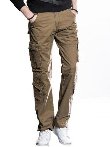 Trendy Straight Cut Cargo Pants with Button Flap Pockets