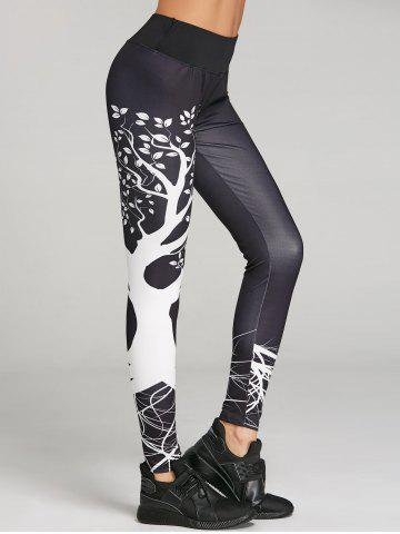 Store Branch Print Skinny Workout Leggings