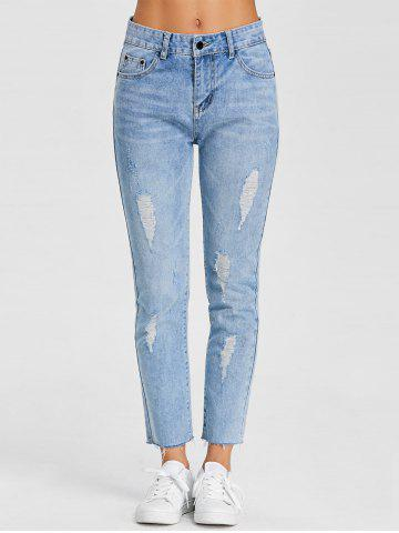 Store Raw Hem Distressed Denim Jeans