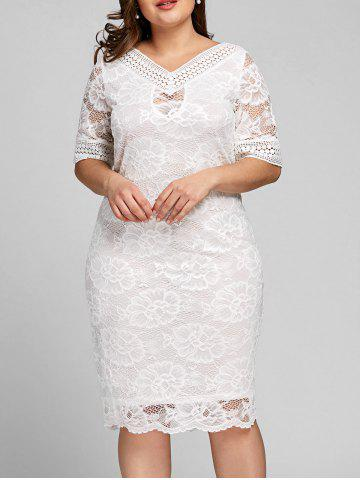 Affordable Plus Size V Neck Midi Lace Dress