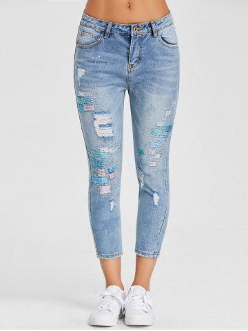 Shop Embroidery Skinny Ripped Jeans