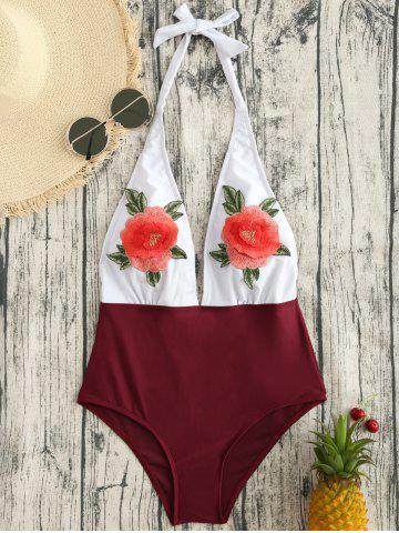 Latest Backless Flower Applique One Piece Swimsuit