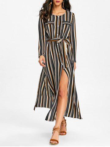 Outfits Button Up Striped Casual Maxi Dress