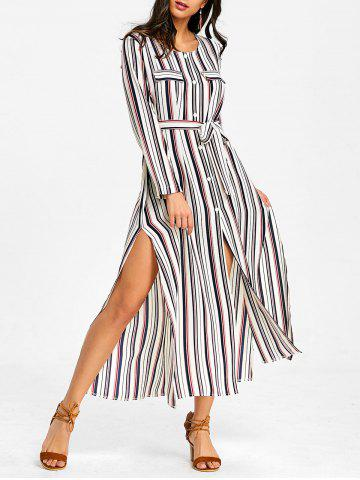 Fashion Button Up Striped Casual Maxi Dress