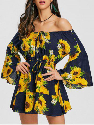 Trendy Flare Sleeve Print Off Shoulder Dress
