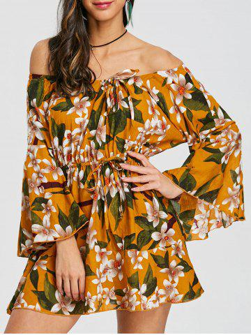 Outfits Flare Sleeve Print Off Shoulder Dress