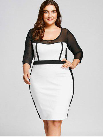 Mesh Panel Plus Size OL Bodycon Dress