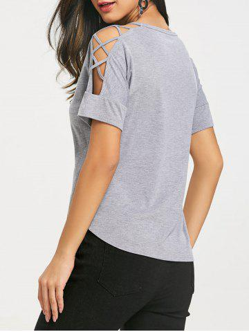 Discount Lattice Cut Shoulder Short Sleeve Tee Shirt