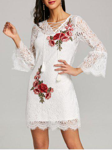 Fashion Bell Sleeve Fitted Lace Dress with Slip Dress