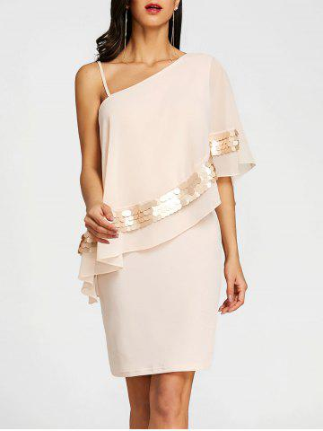 Shop Sequins One Shoulder Overlay Evening Dress