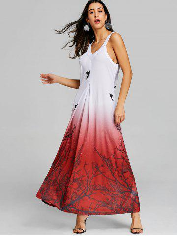 Printed Ombre Color Maxi Swing Dress