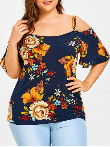 Trendy Cold Shoulder Plus Size Floral Print Blouse
