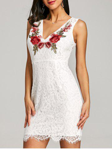 Unique V Neck Sleeveless Embroidery Dress
