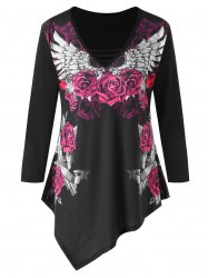 Plus Size Rose V Neck Asymmetric T-shirt -