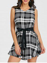 Sleeveless Plaid Belted Dress -