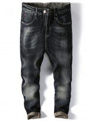 Straight Leg Faded Jeans -