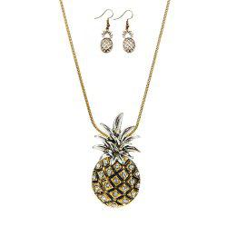 Metallic Ananas Embellished Pendant Necklace and Earrings -
