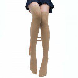 Chaussettes Montantes Mi-Cuisse Motif Rayures Style Simple -