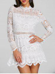 Long Sleeve Scalloped Lace Mini Dress -